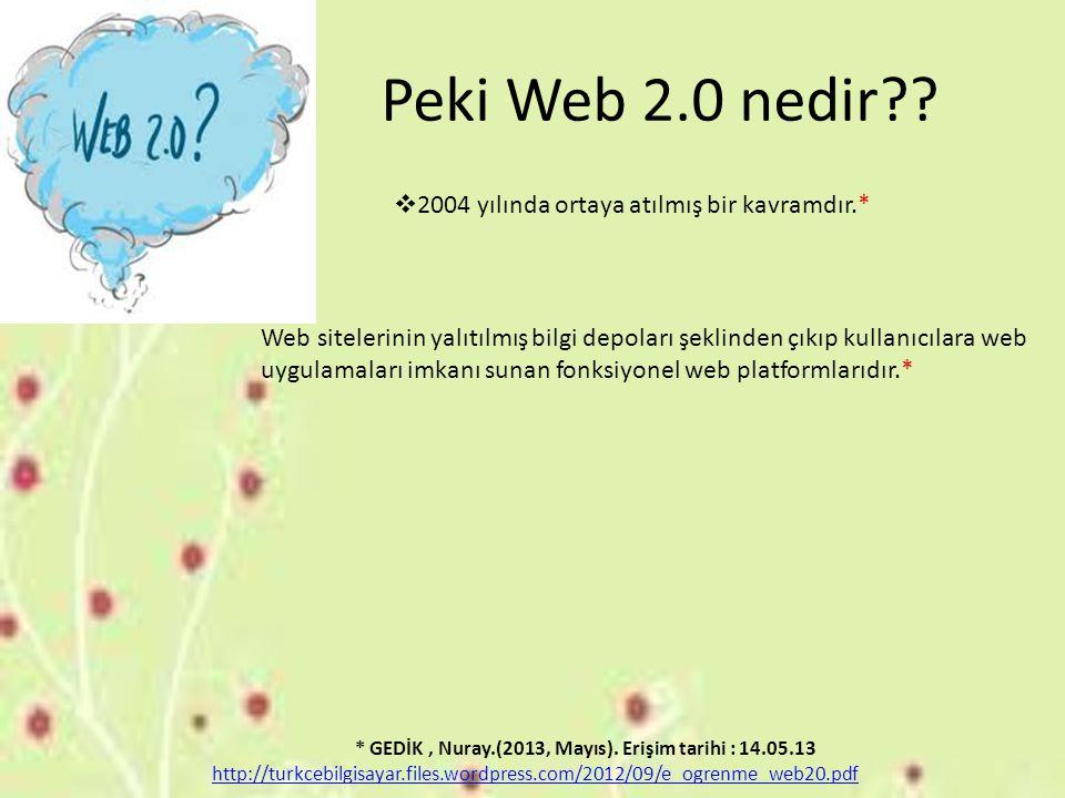 Peki Web 2.0 nedir??  2004 yılında ortaya atılmış bir kavramdır.* Web sitelerinin yalıtılmış bilgi depoları şeklinden çıkıp kullanıcılara web uygulam
