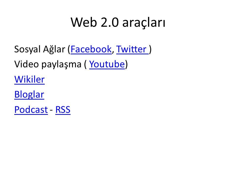 Web 2.0 araçları Sosyal Ağlar (Facebook, Twitter )FacebookTwitter Video paylaşma ( Youtube)Youtube Wikiler Bloglar PodcastPodcast - RSSRSS
