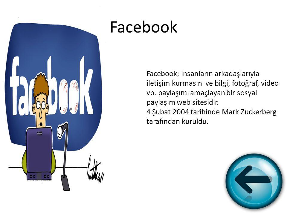 Facebook Facebook; insanların arkadaşlarıyla iletişim kurmasını ve bilgi, fotoğraf, video vb. paylaşımı amaçlayan bir sosyal paylaşım web sitesidir. 4