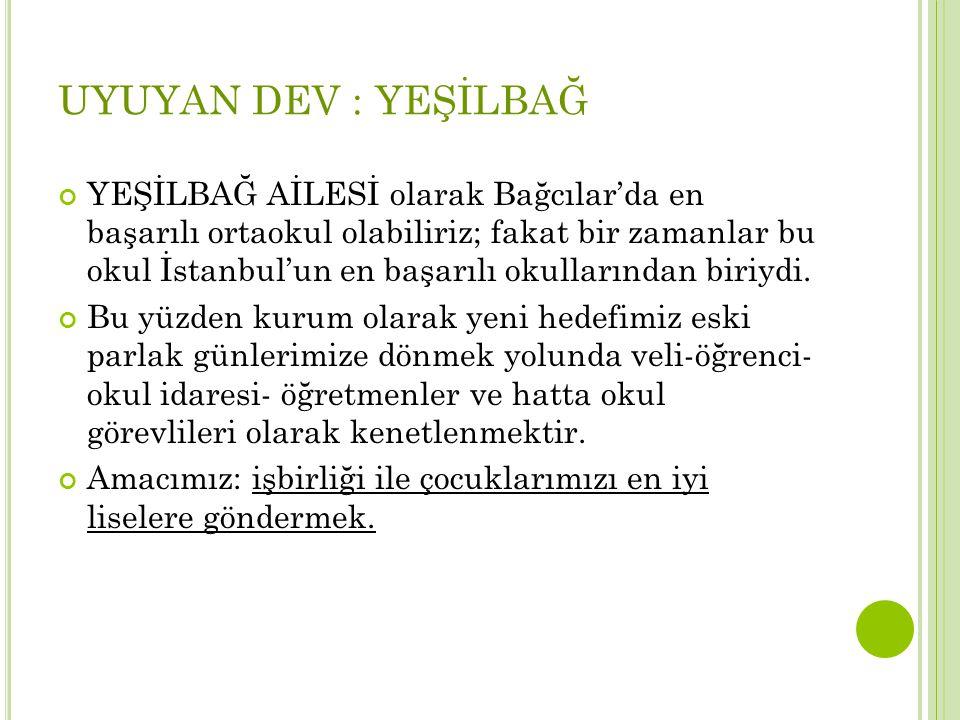 UYUYAN DEV : YEŞİLBAĞ YEŞİLBAĞ AİLESİ olarak Bağcılar'da en başarılı ortaokul olabiliriz; fakat bir zamanlar bu okul İstanbul'un en başarılı okulların