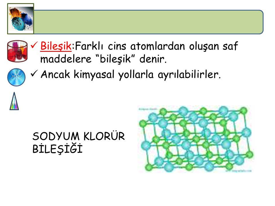 ELEMENTLERİN ÖZELLİKLERİ Saf ve homojen maddelerdir. En küçük yapı taşları atomdur. Kimyasal ve fiziksel yollarla daha basit parçalara ayrıştırılamaz.