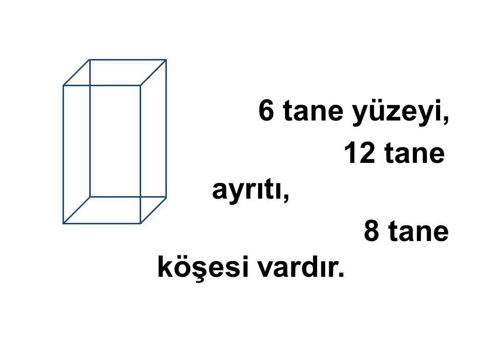 6 tane yüzeyi, 12 tane ayrıtı, 8 tane köşesi vardır.