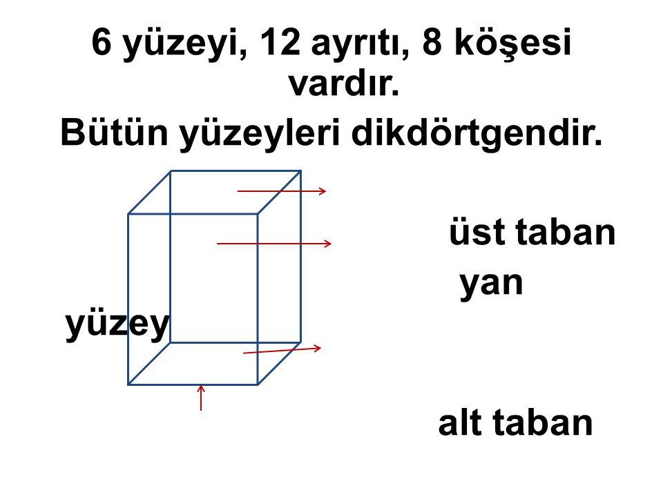 6 yüzeyi, 12 ayrıtı, 8 köşesi vardır. Bütün yüzeyleri dikdörtgendir. üst taban yan yüzey alt taban ayrıt