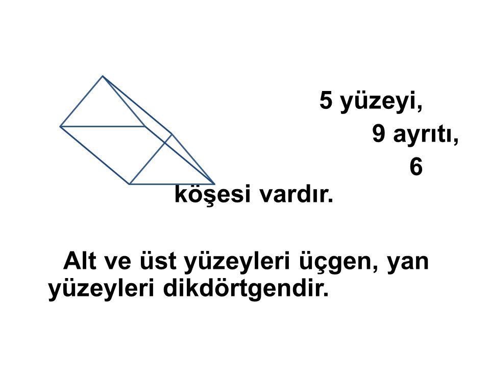 5 yüzeyi, 9 ayrıtı, 6 köşesi vardır. Alt ve üst yüzeyleri üçgen, yan yüzeyleri dikdörtgendir.