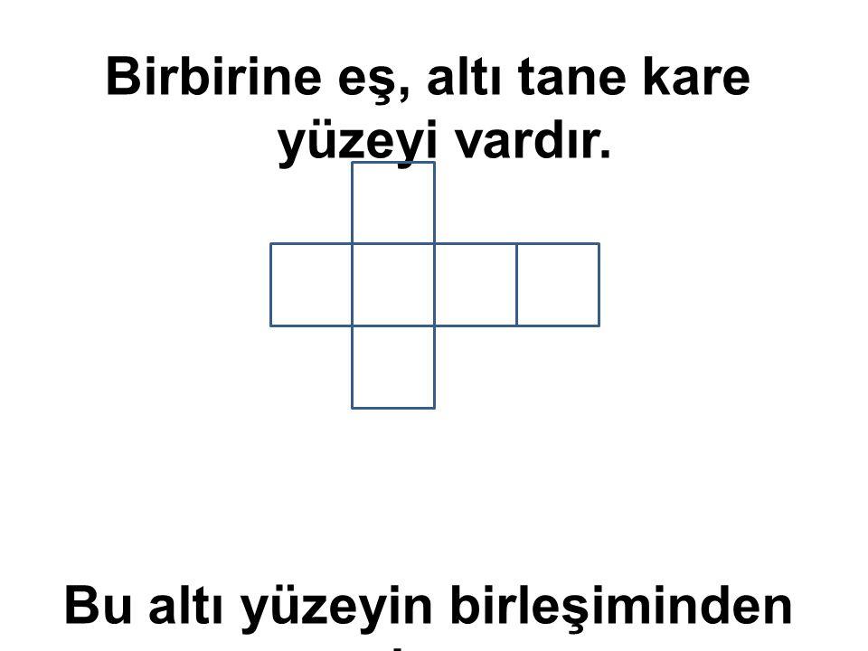 Birbirine eş, altı tane kare yüzeyi vardır. Bu altı yüzeyin birleşiminden oluşur.