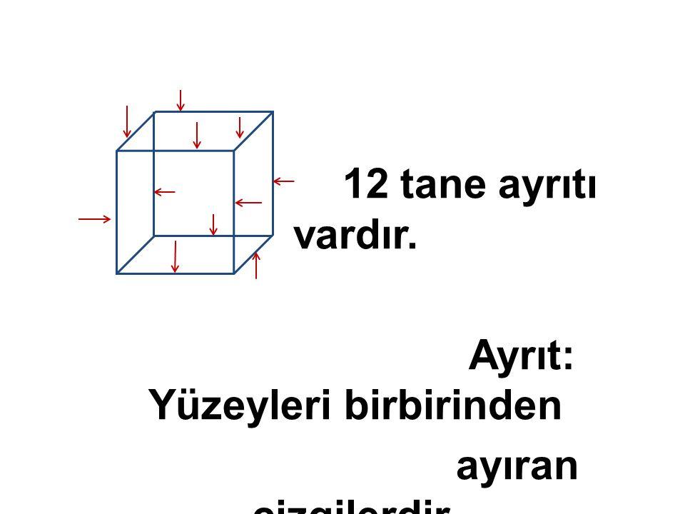 12 tane ayrıtı vardır. Ayrıt: Yüzeyleri birbirinden ayıran çizgilerdir.