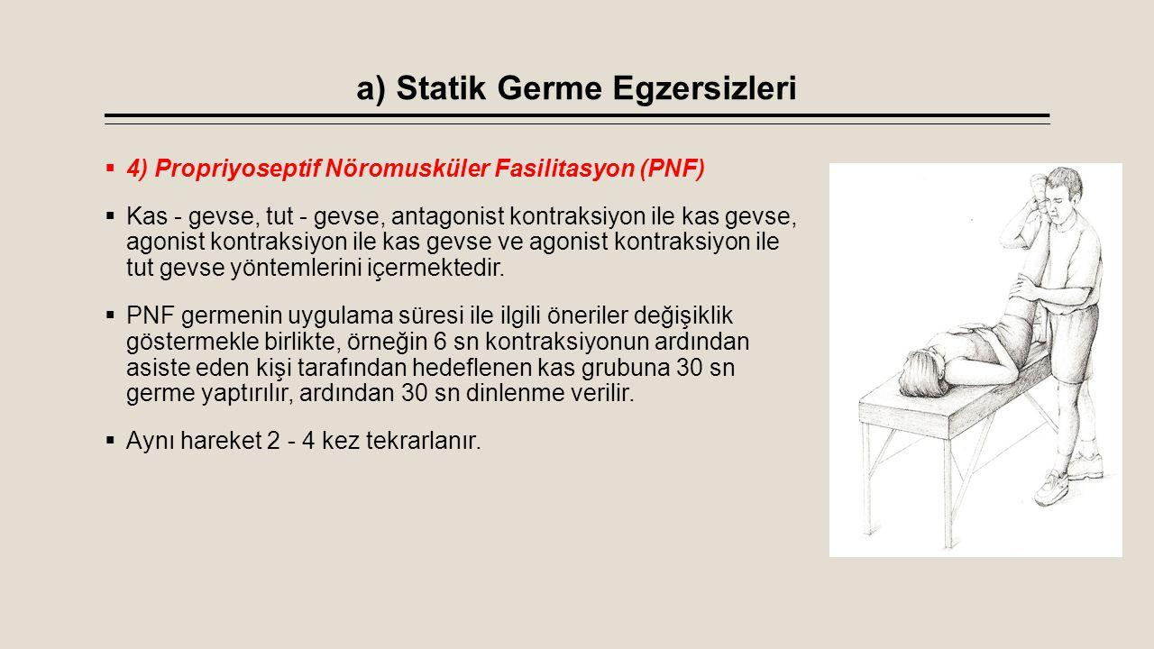 a) Statik Germe Egzersizleri  4) Propriyoseptif Nöromusküler Fasilitasyon (PNF)  Kas - gevse, tut - gevse, antagonist kontraksiyon ile kas gevse, ag