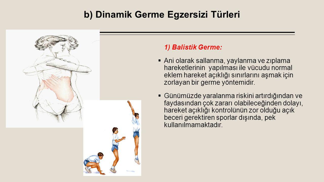 b) Dinamik Germe Egzersizi Türleri 1) Balistik Germe:  Ani olarak sallanma, yaylanma ve zıplama hareketlerinin yapılması ile vücudu normal eklem hare