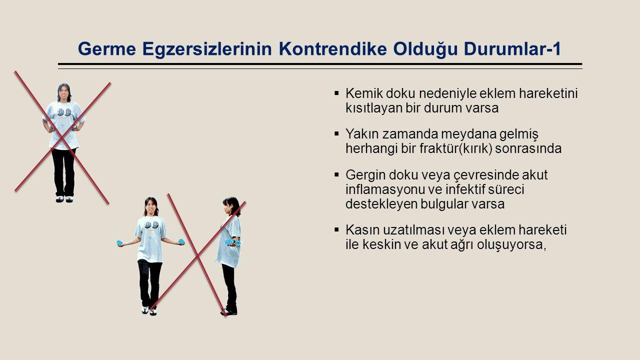 Germe Egzersizlerinin Kontrendike Olduğu Durumlar-1  Kemik doku nedeniyle eklem hareketini kısıtlayan bir durum varsa  Yakın zamanda meydana gelmiş