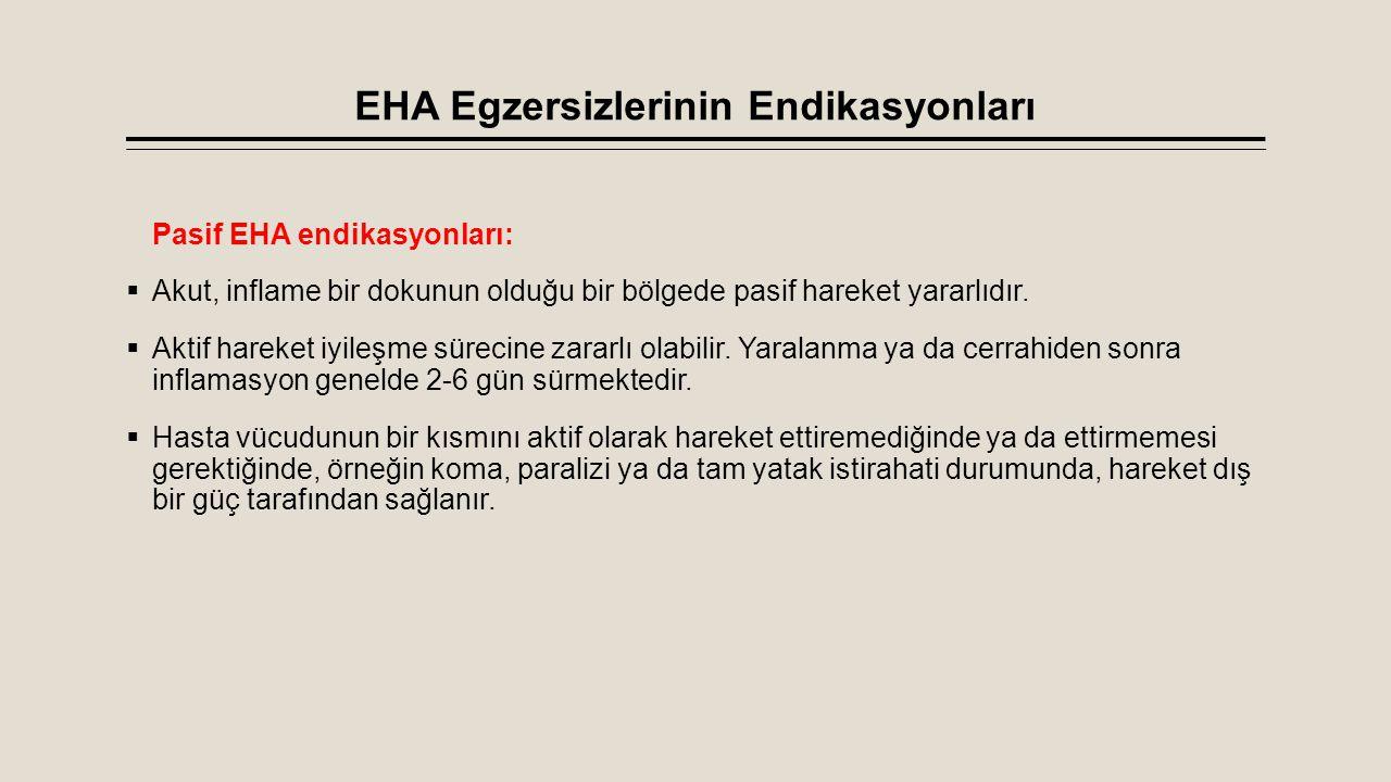 EHA Egzersizlerinin Endikasyonları Pasif EHA endikasyonları:  Akut, inflame bir dokunun olduğu bir bölgede pasif hareket yararlıdır.  Aktif hareket