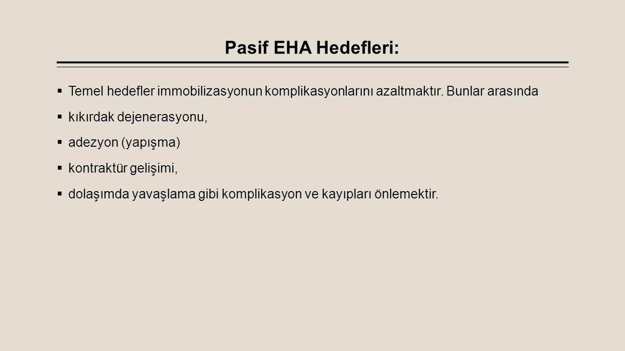 Pasif EHA Hedefleri:  Temel hedefler immobilizasyonun komplikasyonlarını azaltmaktır. Bunlar arasında  kıkırdak dejenerasyonu,  adezyon (yapışma) 