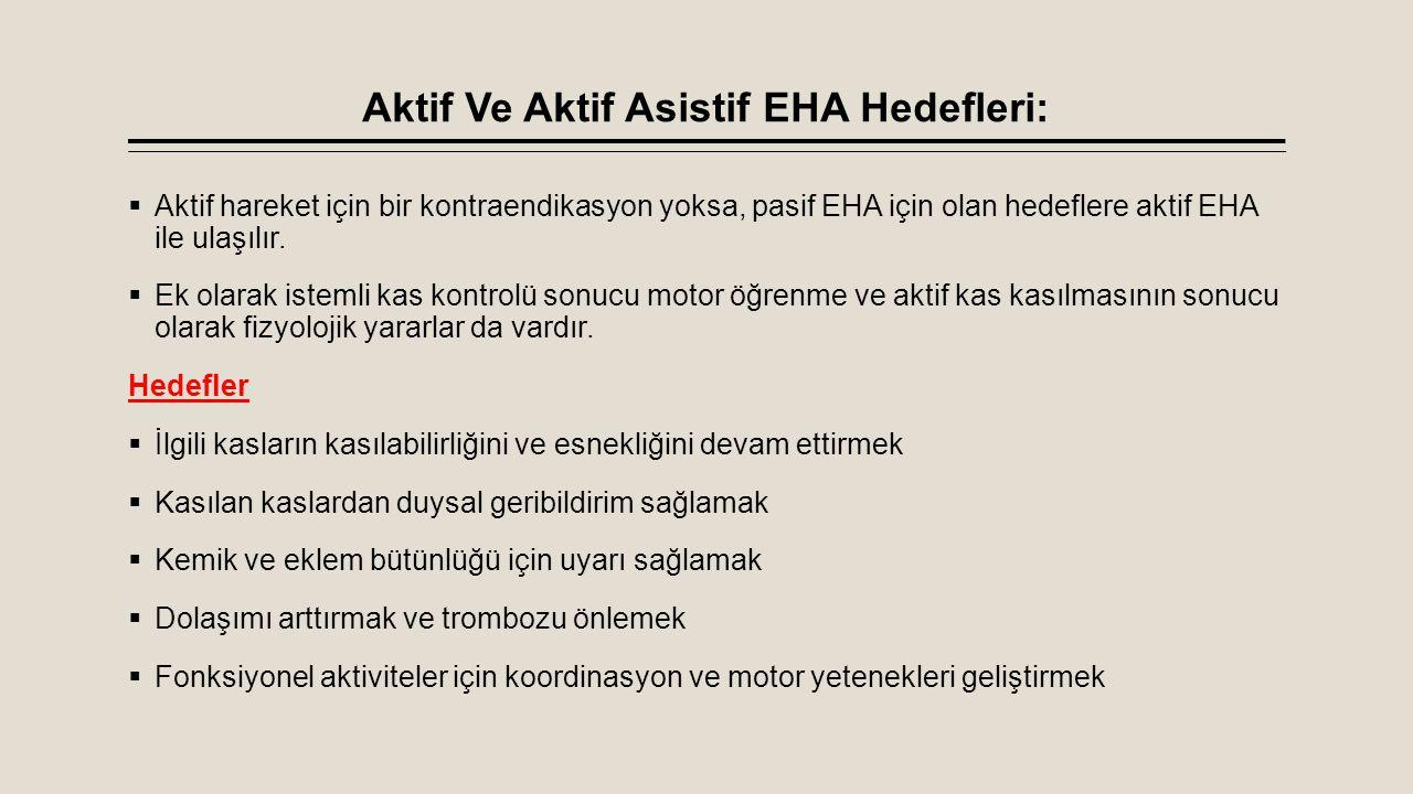 Aktif Ve Aktif Asistif EHA Hedefleri:  Aktif hareket için bir kontraendikasyon yoksa, pasif EHA için olan hedeflere aktif EHA ile ulaşılır.  Ek olar
