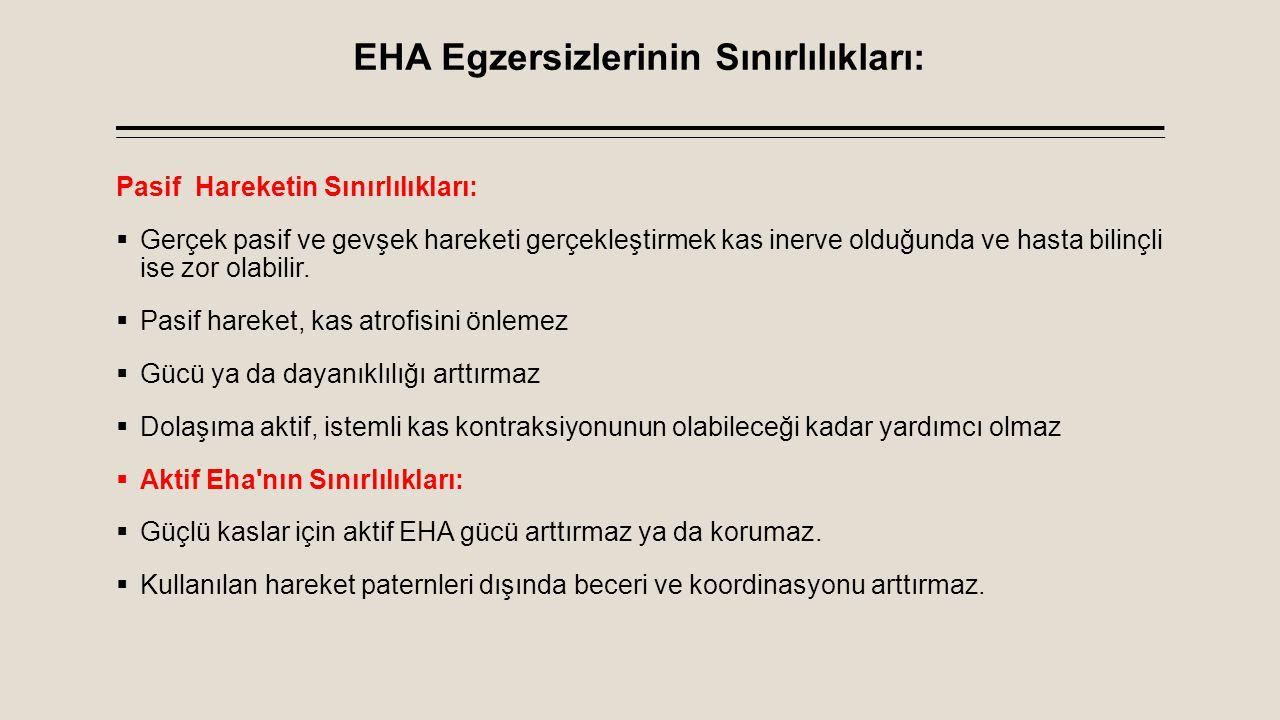EHA Egzersizlerinin Sınırlılıkları: Pasif Hareketin Sınırlılıkları:  Gerçek pasif ve gevşek hareketi gerçekleştirmek kas inerve olduğunda ve hasta bi