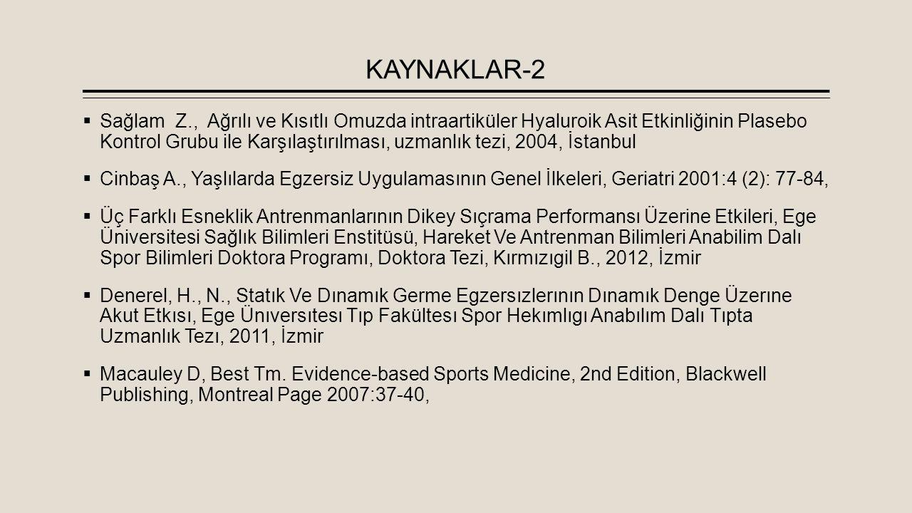 KAYNAKLAR-2  Sağlam Z., Ağrılı ve Kısıtlı Omuzda intraartiküler Hyaluroik Asit Etkinliğinin Plasebo Kontrol Grubu ile Karşılaştırılması, uzmanlık tez