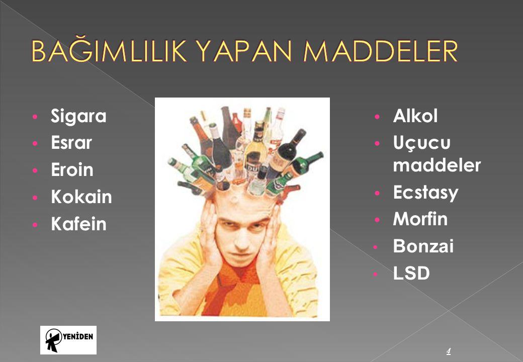 Sigara Esrar Eroin Kokain Kafein Alkol Uçucu maddeler Ecstasy Morfin Bonzai LSD 4