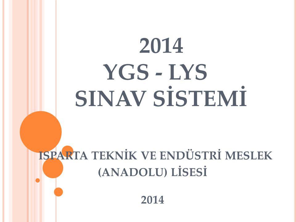 2014 YGS - LYS SINAV SİSTEMİ ISPARTA TEKNİK VE ENDÜSTRİ MESLEK (ANADOLU) LİSESİ 2014