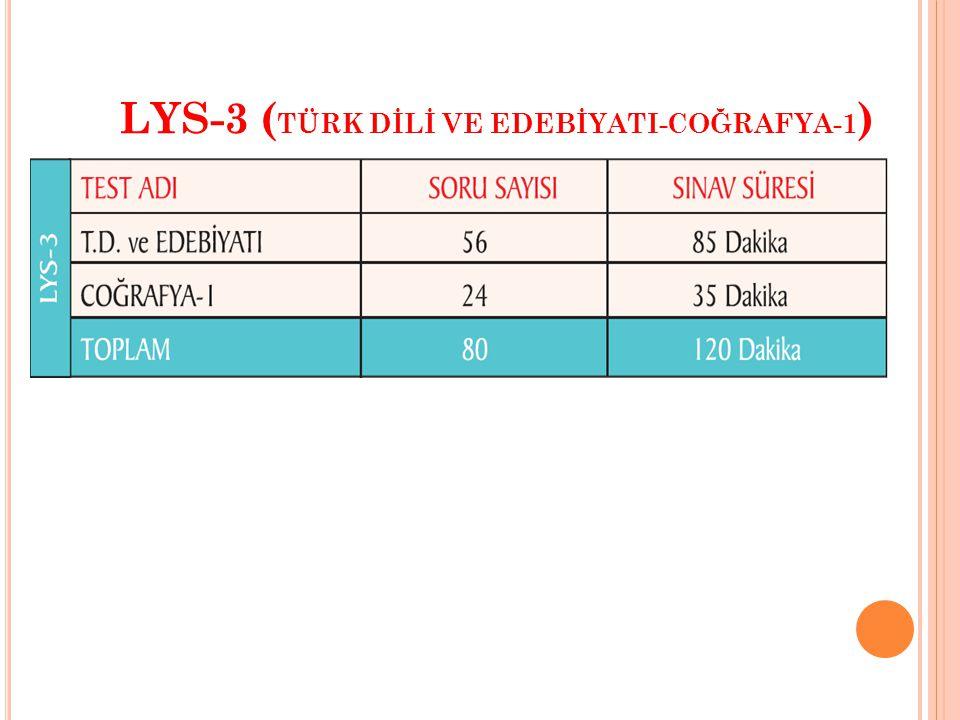 LYS-3 ( TÜRK DİLİ VE EDEBİYATI-COĞRAFYA-1 )