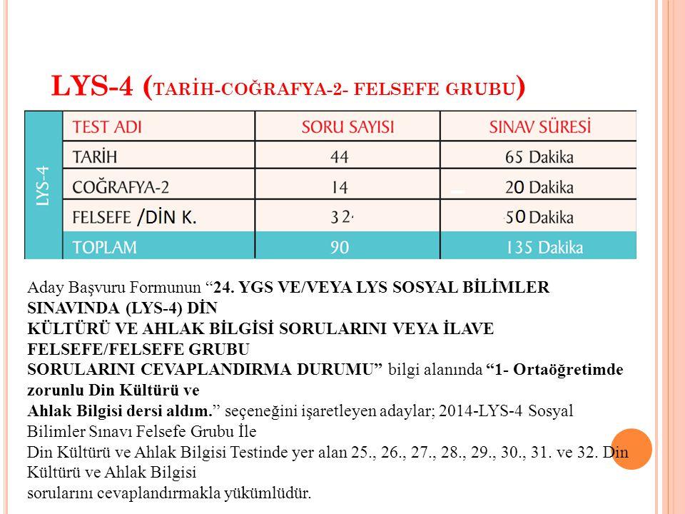 LYS-4 ( TARİH-COĞRAFYA-2- FELSEFE GRUBU ) Aday Başvuru Formunun 24.