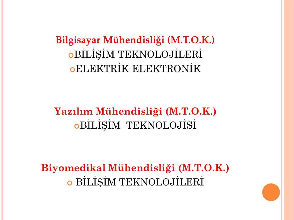 Bilgisayar Mühendisliği (M.T.O.K.) BİLİŞİM TEKNOLOJİLERİ ELEKTRİK ELEKTRONİK Yazılım Mühendisliği (M.T.O.K.) BİLİŞİM TEKNOLOJİSİ Biyomedikal Mühendisliği (M.T.O.K.) BİLİŞİM TEKNOLOJİLERİ