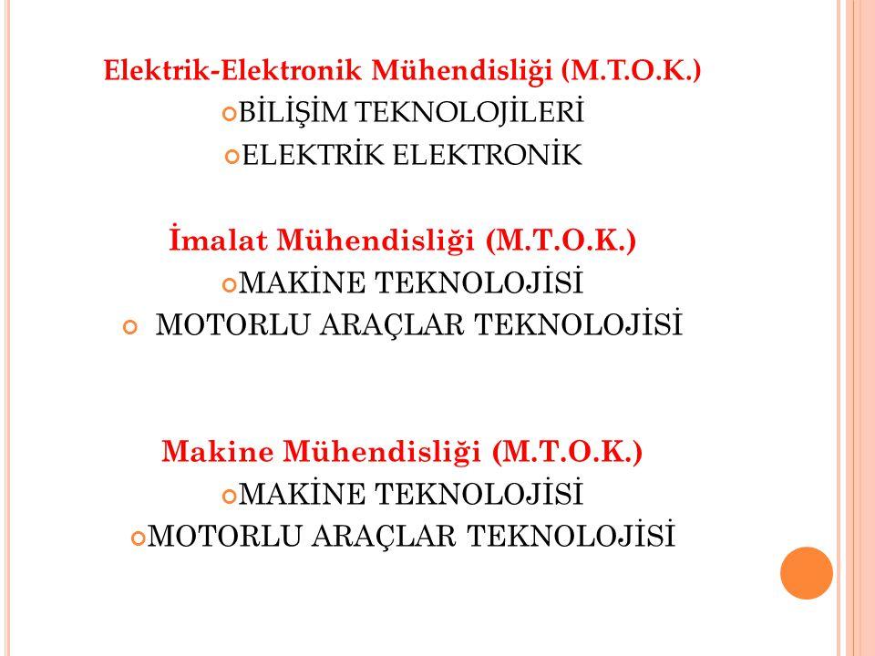 Elektrik-Elektronik Mühendisliği (M.T.O.K.) BİLİŞİM TEKNOLOJİLERİ ELEKTRİK ELEKTRONİK İmalat Mühendisliği (M.T.O.K.) MAKİNE TEKNOLOJİSİ MOTORLU ARAÇLAR TEKNOLOJİSİ Makine Mühendisliği (M.T.O.K.) MAKİNE TEKNOLOJİSİ MOTORLU ARAÇLAR TEKNOLOJİSİ