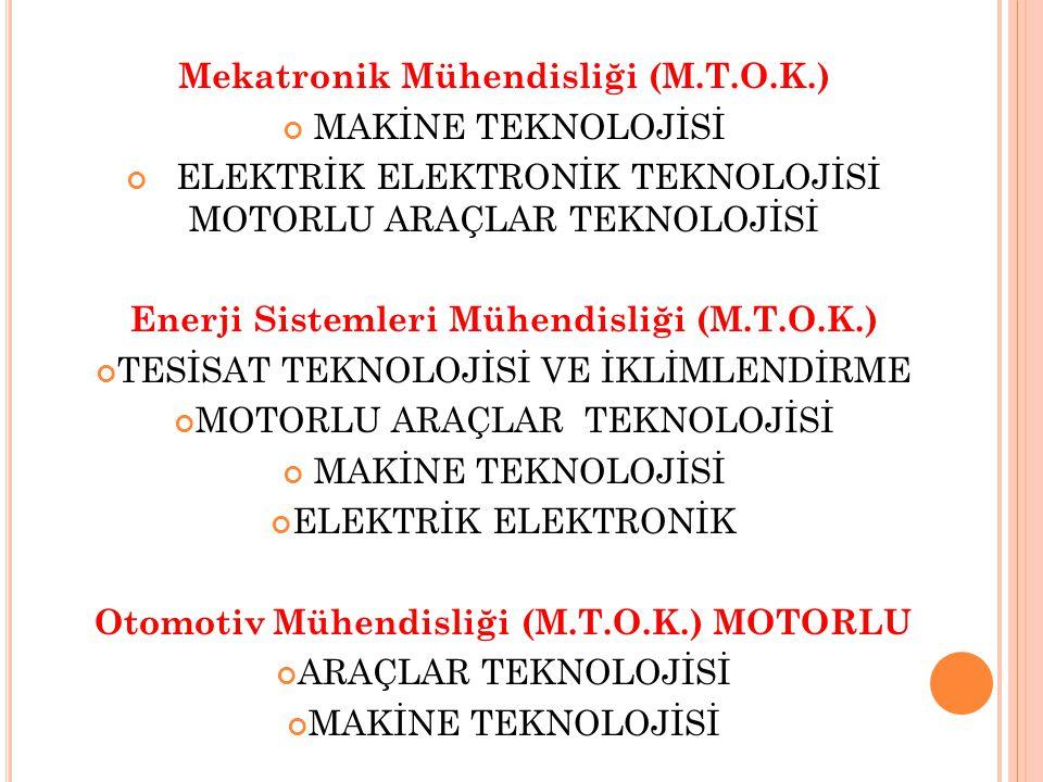 Mekatronik Mühendisliği (M.T.O.K.) MAKİNE TEKNOLOJİSİ ELEKTRİK ELEKTRONİK TEKNOLOJİSİ MOTORLU ARAÇLAR TEKNOLOJİSİ Enerji Sistemleri Mühendisliği (M.T.O.K.) TESİSAT TEKNOLOJİSİ VE İKLİMLENDİRME MOTORLU ARAÇLAR TEKNOLOJİSİ MAKİNE TEKNOLOJİSİ ELEKTRİK ELEKTRONİK Otomotiv Mühendisliği (M.T.O.K.) MOTORLU ARAÇLAR TEKNOLOJİSİ MAKİNE TEKNOLOJİSİ