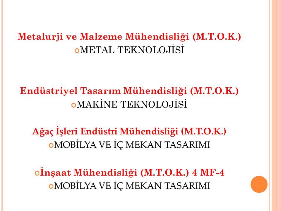 Metalurji ve Malzeme Mühendisliği (M.T.O.K.) METAL TEKNOLOJİSİ Endüstriyel Tasarım Mühendisliği (M.T.O.K.) MAKİNE TEKNOLOJİSİ Ağaç İşleri Endüstri Mühendisliği (M.T.O.K.) MOBİLYA VE İÇ MEKAN TASARIMI İnşaat Mühendisliği (M.T.O.K.) 4 MF-4 MOBİLYA VE İÇ MEKAN TASARIMI