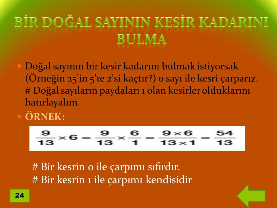 Doğal sayının bir kesir kadarını bulmak istiyorsak (Örneğin 25'in 5'te 2'si kaçtır?) o sayı ile kesri çarparız. # Doğal sayıların paydaları 1 olan kes