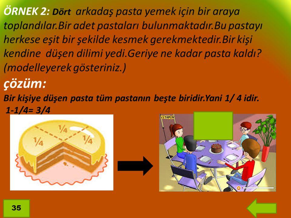 ÖRNEK 2: Dört arkadaş pasta yemek için bir araya toplandılar.Bir adet pastaları bulunmaktadır.Bu pastayı herkese eşit bir şekilde kesmek gerekmektedir