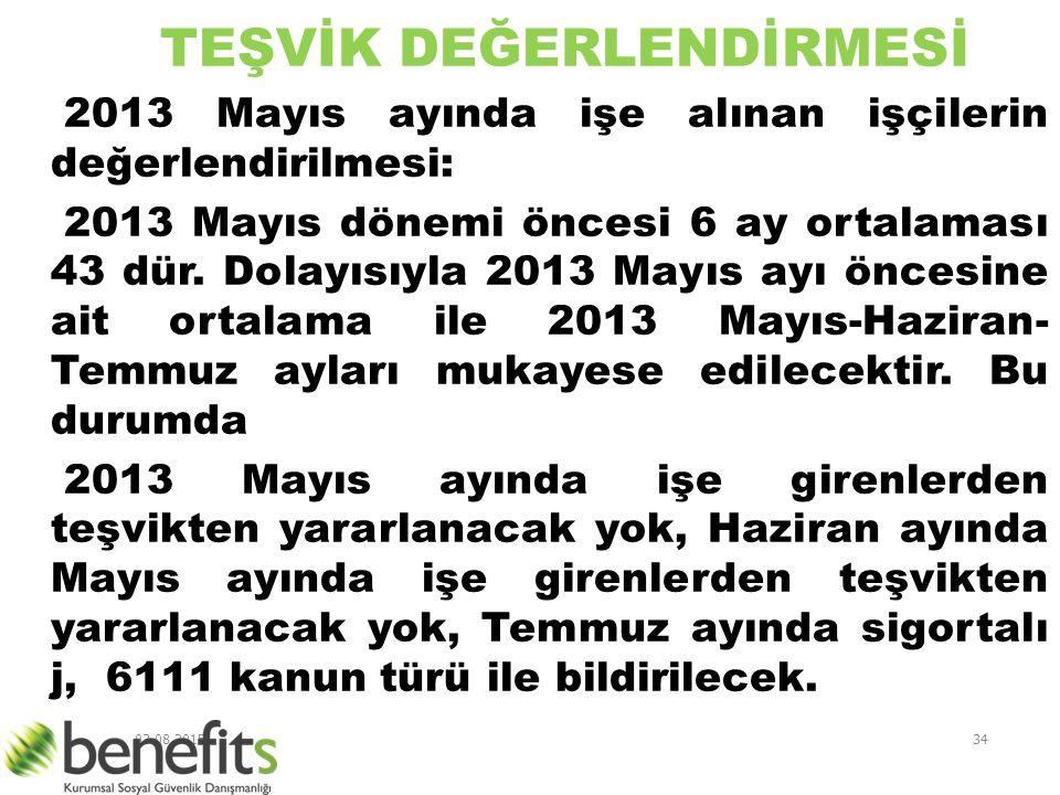 03.08.201534 TEŞVİK DEĞERLENDİRMESİ 2013 Mayıs ayında işe alınan işçilerin değerlendirilmesi: 2013 Mayıs dönemi öncesi 6 ay ortalaması 43 dür. Dolayıs