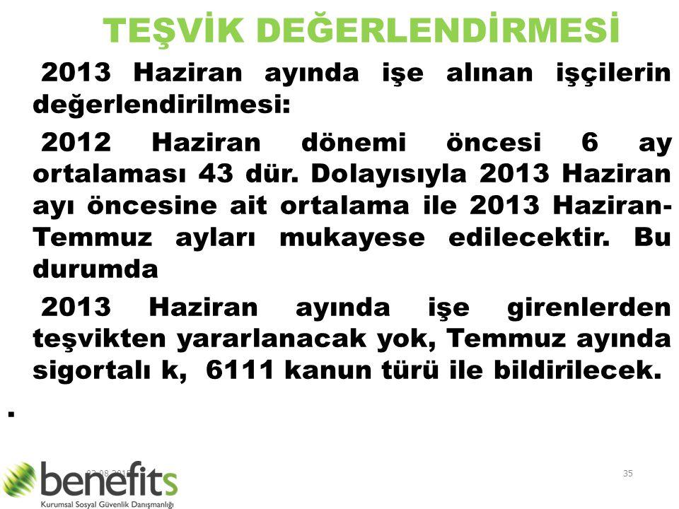 03.08.201535 TEŞVİK DEĞERLENDİRMESİ 2013 Haziran ayında işe alınan işçilerin değerlendirilmesi: 2012 Haziran dönemi öncesi 6 ay ortalaması 43 dür. Dol