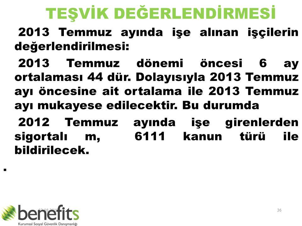 03.08.201536 TEŞVİK DEĞERLENDİRMESİ 2013 Temmuz ayında işe alınan işçilerin değerlendirilmesi: 2013 Temmuz dönemi öncesi 6 ay ortalaması 44 dür. Dolay