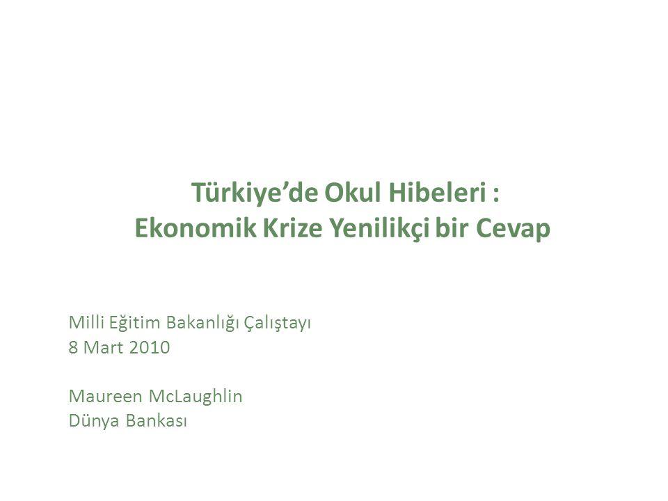 Türkiye'de Okul Hibeleri : Ekonomik Krize Yenilikçi bir Cevap Milli Eğitim Bakanlığı Çalıştayı 8 Mart 2010 Maureen McLaughlin Dünya Bankası