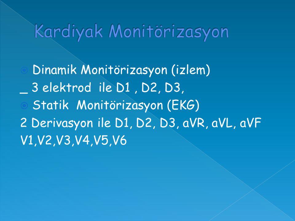  Dinamik Monitörizasyon (izlem) _ 3 elektrod ile D1, D2, D3,  Statik Monitörizasyon (EKG) 2 Derivasyon ile D1, D2, D3, aVR, aVL, aVF V1,V2,V3,V4,V5,V6