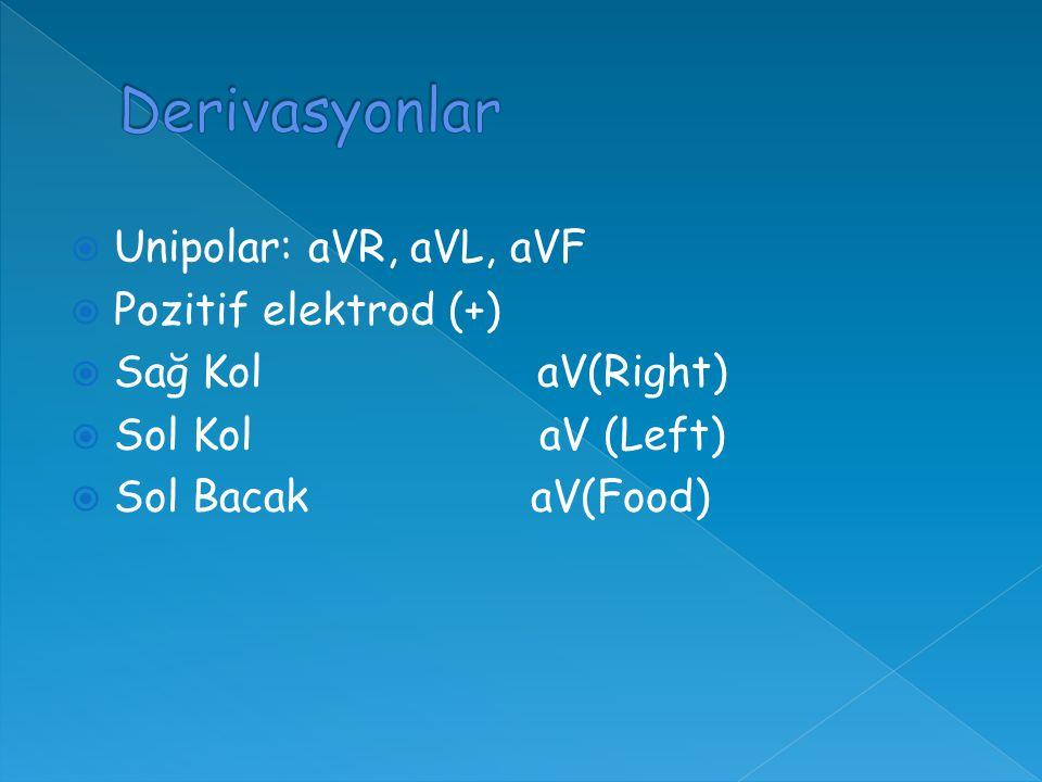  Unipolar: aVR, aVL, aVF  Pozitif elektrod (+)  Sağ Kol aV(Right)  Sol Kol aV (Left)  Sol Bacak aV(Food)