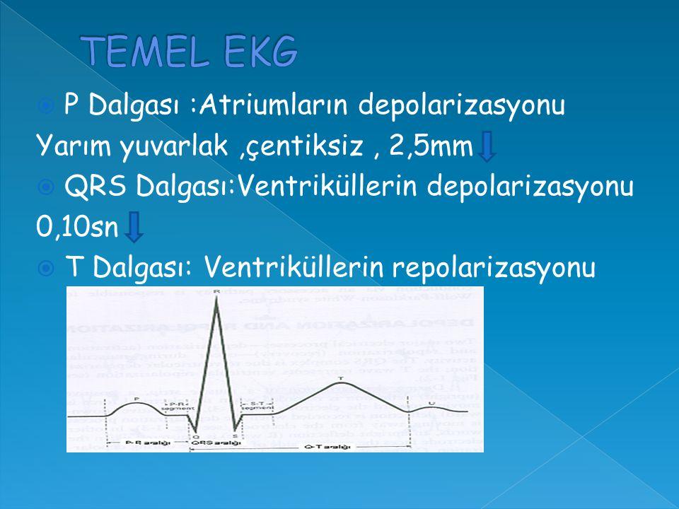  P Dalgası :Atriumların depolarizasyonu Yarım yuvarlak,çentiksiz, 2,5mm  QRS Dalgası:Ventriküllerin depolarizasyonu 0,10sn  T Dalgası: Ventriküllerin repolarizasyonu