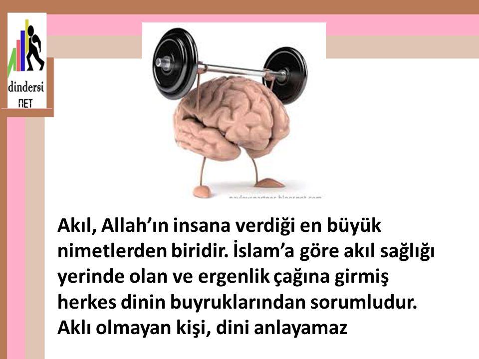 Akıl, Allah'ın insana verdiği en büyük nimetlerden biridir. İslam'a göre akıl sağlığı yerinde olan ve ergenlik çağına girmiş herkes dinin buyruklarınd