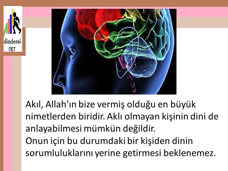 Akıl, Allah'ın bize vermiş olduğu en büyük nimetlerden biridir. Aklı olmayan kişinin dini de anlayabilmesi mümkün değildir. Onun için bu durumdaki bir