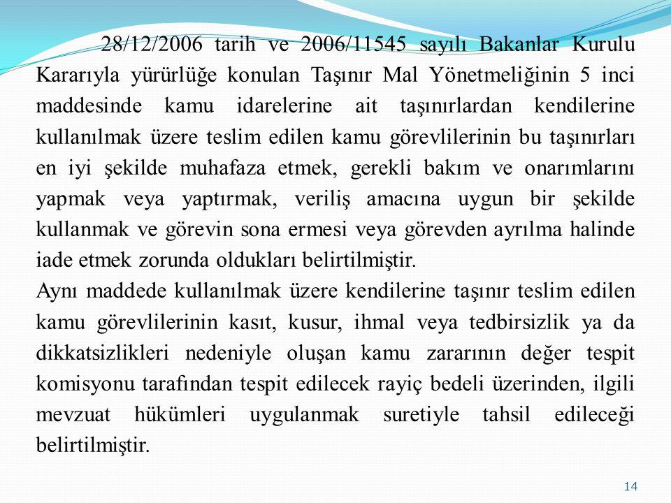 14 28/12/2006 tarih ve 2006/11545 sayılı Bakanlar Kurulu Kararıyla yürürlüğe konulan Taşınır Mal Yönetmeliğinin 5 inci maddesinde kamu idarelerine ait