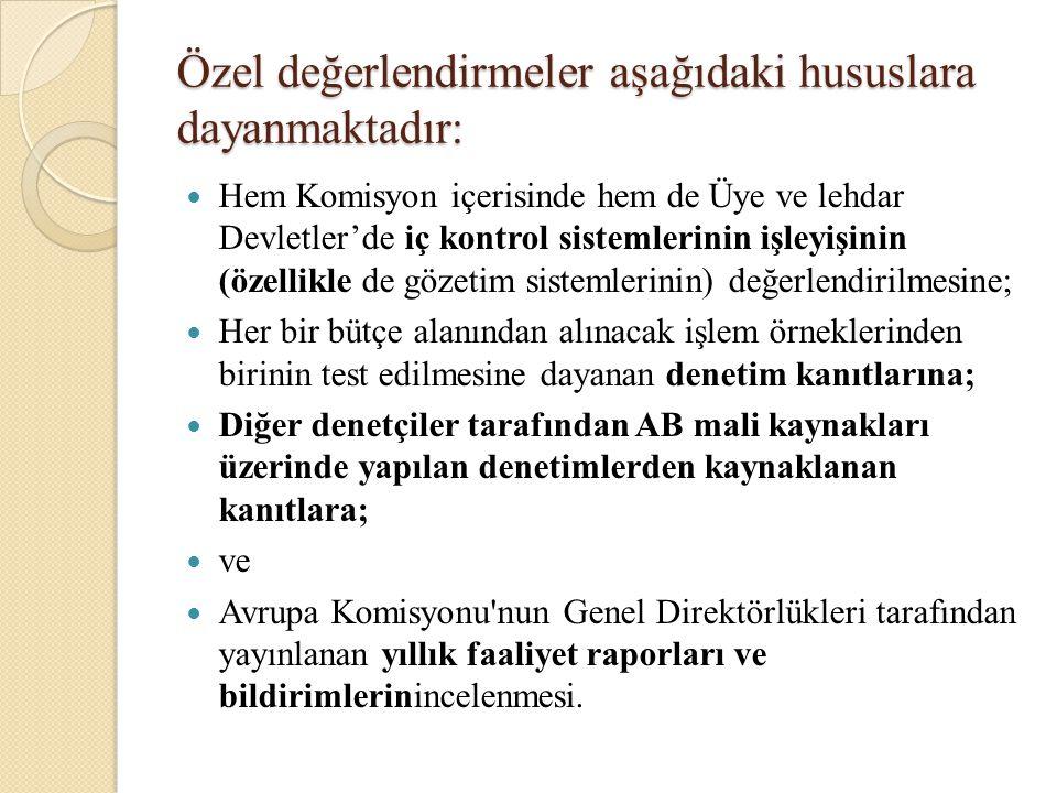Özel değerlendirmeler aşağıdaki hususlara dayanmaktadır: Hem Komisyon içerisinde hem de Üye ve lehdar Devletler'de iç kontrol sistemlerinin işleyişini