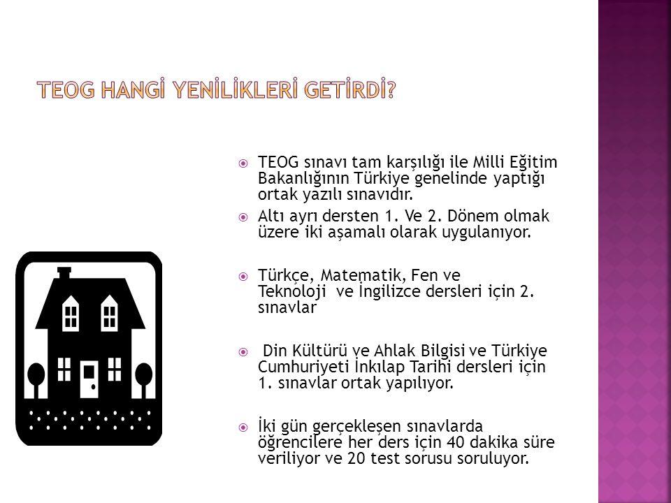  TEOG sınavı tam karşılığı ile Milli Eğitim Bakanlığının Türkiye genelinde yaptığı ortak yazılı sınavıdır.  Altı ayrı dersten 1. Ve 2. Dönem olmak ü