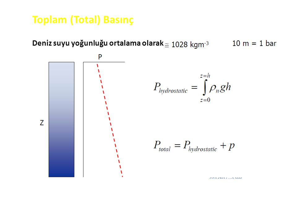 Toplam (Total) Basınç Deniz suyu yoğunluğu ortalama olarak
