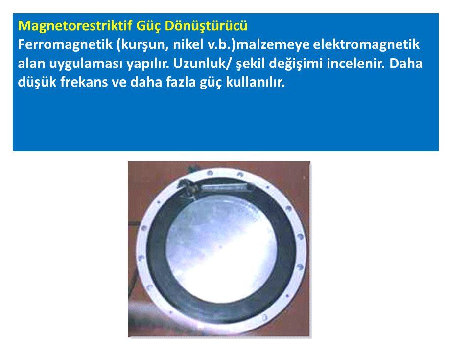 Magnetorestriktif Güç Dönüştürücü Ferromagnetik (kurşun, nikel v.b.)malzemeye elektromagnetik alan uygulaması yapılır. Uzunluk/ şekil değişimi incelen