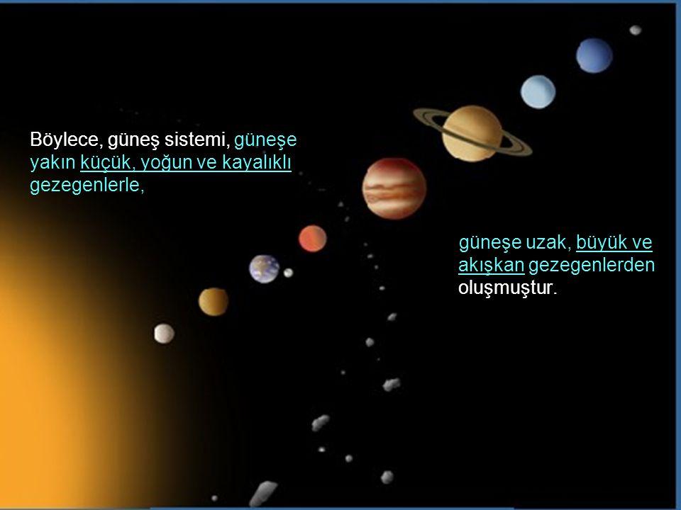 Böylece, güneş sistemi, güneşe yakın küçük, yoğun ve kayalıklı gezegenlerle, güneşe uzak, büyük ve akışkan gezegenlerden oluşmuştur.
