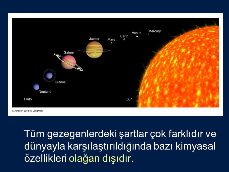 Tüm gezegenlerdeki şartlar çok farklıdır ve dünyayla karşılaştırıldığında bazı kimyasal özellikleri olağan dışıdır.