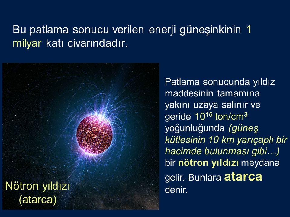Patlama sonucunda yıldız maddesinin tamamına yakını uzaya salınır ve geride 10 15 ton/cm 3 yoğunluğunda (güneş kütlesinin 10 km yarıçaplı bir hacimde