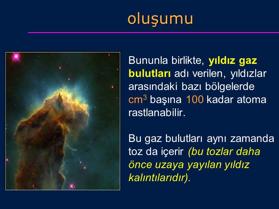 oluşumu Bununla birlikte, yıldız gaz bulutları adı verilen, yıldızlar arasındaki bazı bölgelerde cm 3 başına 100 kadar atoma rastlanabilir. Bu gaz bul