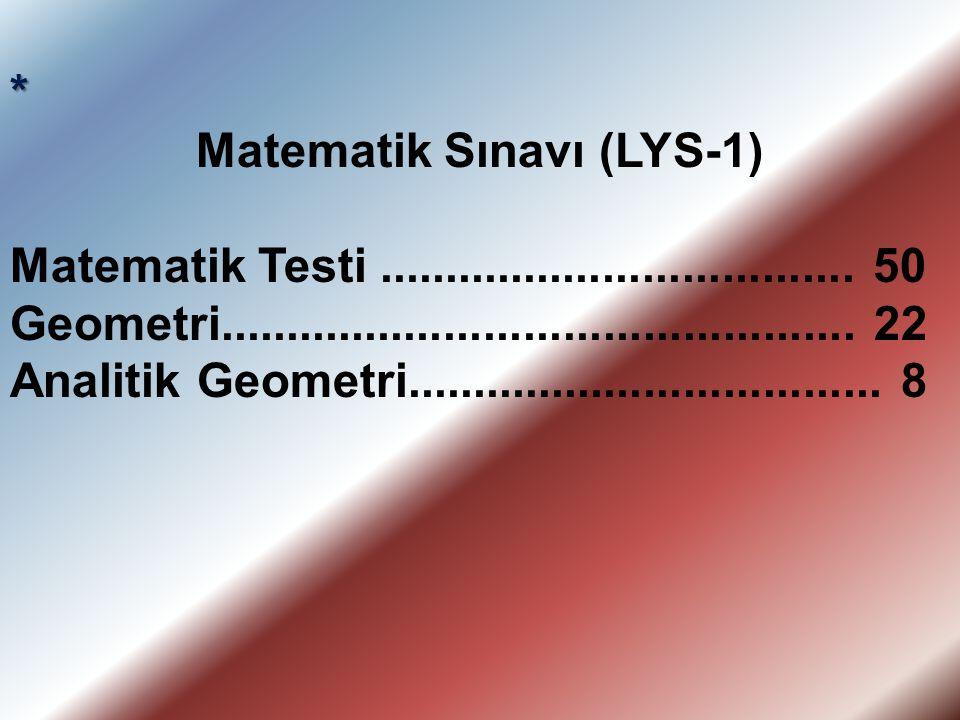 * Matematik Sınavı (LYS-1) Matematik Testi.................................... 50 Geometri................................................ 22 Analitik