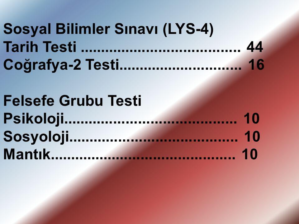 Sosyal Bilimler Sınavı (LYS-4) Tarih Testi....................................... 44 Coğrafya-2 Testi.............................. 16 Felsefe Grubu T
