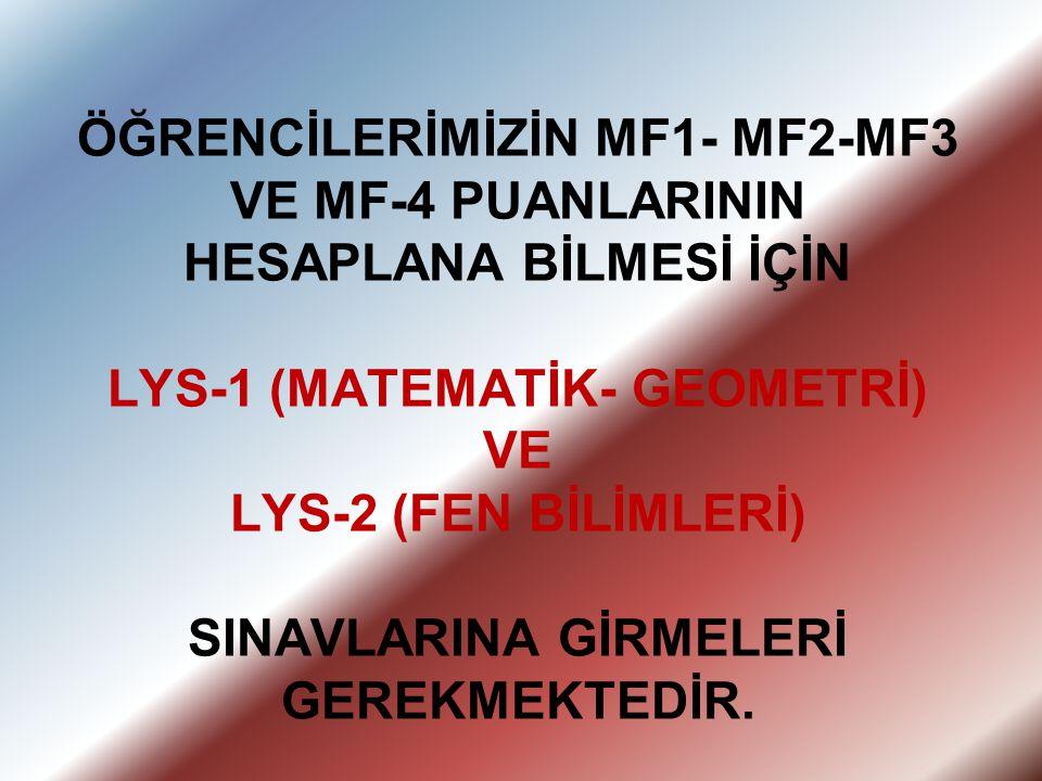 ÖĞRENCİLERİMİZİN MF1- MF2-MF3 VE MF-4 PUANLARININ HESAPLANA BİLMESİ İÇİN LYS-1 (MATEMATİK- GEOMETRİ) VE LYS-2 (FEN BİLİMLERİ) SINAVLARINA GİRMELERİ GE