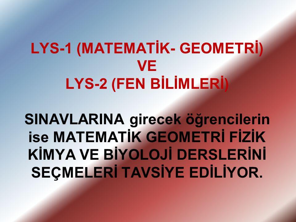 LYS-1 (MATEMATİK- GEOMETRİ) VE LYS-2 (FEN BİLİMLERİ) SINAVLARINA girecek öğrencilerin ise MATEMATİK GEOMETRİ FİZİK KİMYA VE BİYOLOJİ DERSLERİNİ SEÇMEL